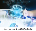 lady is using mobile telephone... | Shutterstock . vector #428869684