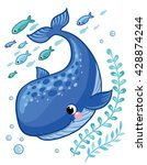 cartoon young whale surrounded... | Shutterstock .eps vector #428874244
