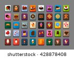 candy icon set with long shadow ...