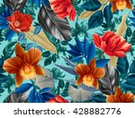 seamless tropical flower  plant ... | Shutterstock . vector #428882776