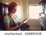 woman in a chair on board... | Shutterstock . vector #428890438