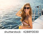 Smiling Girl On Yacht. Lady In...