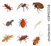 Insect Pest Set Isolated Sign...