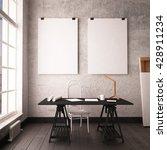 desk in hipster style loft.... | Shutterstock . vector #428911234