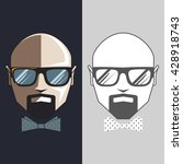 bald man in glasses and bow tie ... | Shutterstock .eps vector #428918743