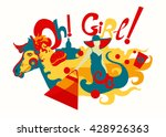 girl and horse flat decorative... | Shutterstock .eps vector #428926363