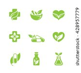 set of green herbal medicine... | Shutterstock .eps vector #428957779