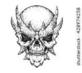 hand drawn horned skull. vector ...   Shutterstock .eps vector #428974258