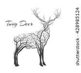 branch wood twig deer. hipster... | Shutterstock .eps vector #428985124