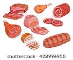 meat delicatessen sketches with ... | Shutterstock .eps vector #428996950