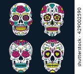 day of the dead colorful sugar... | Shutterstock .eps vector #429002590