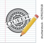 Queen Emblem With Pencil Effect