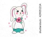 cute  funny cartoon rabbit in... | Shutterstock .eps vector #429051214