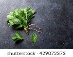 Fresh Mint Leaves Herb On Stone ...
