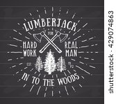 lumberjack vintage label with... | Shutterstock .eps vector #429074863