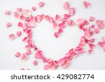 Stock photo pink roses petal heart shaped 429082774