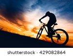 silhouette of biker boy riding... | Shutterstock . vector #429082864