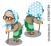 an old woman with a cane.... | Shutterstock .eps vector #429084784