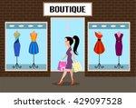 girl accomplishing purchases...   Shutterstock . vector #429097528