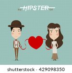 cartoon wedding picture. lover... | Shutterstock .eps vector #429098350
