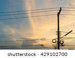 electric pole connect to the... | Shutterstock . vector #429102700