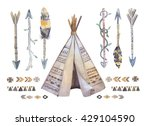 Watercolor Teepee  Arrows ...