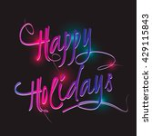 "color calligraphic word ""happy...   Shutterstock .eps vector #429115843"