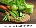 Fresh Sliced Green Celery On...