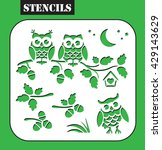 stencil. owls sitting on the... | Shutterstock .eps vector #429143629