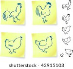 rooster and chickens on post it ... | Shutterstock .eps vector #42915103