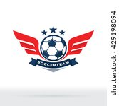 soccer ball and wings logo ... | Shutterstock .eps vector #429198094