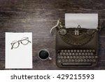top view of stuff office desktop | Shutterstock . vector #429215593