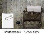 top view of stuff office desktop | Shutterstock . vector #429215599