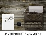 top view of stuff office desktop | Shutterstock . vector #429215644