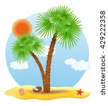 palm tree stands on the sand... | Shutterstock . vector #429222358