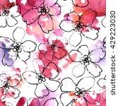 pencil  watercolor hand drawn... | Shutterstock . vector #429223030