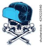 gangster. skull with cross... | Shutterstock .eps vector #429223540
