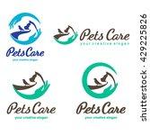 Stock vector pets care vector logo design templates 429225826