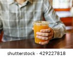 a man in a cafe drinking tea at ...   Shutterstock . vector #429227818
