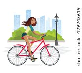 fitness woman cycling on the... | Shutterstock .eps vector #429243619