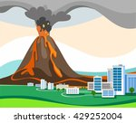 the eruption of the volcano ... | Shutterstock .eps vector #429252004