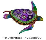zentangle stylized color turtle.... | Shutterstock .eps vector #429258970