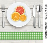 flatware with citrus fruits on... | Shutterstock .eps vector #429275518