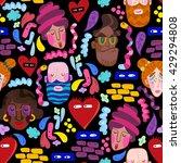 funny cartoon faces in bright...   Shutterstock .eps vector #429294808