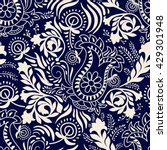 monochrome floral pattern.... | Shutterstock .eps vector #429301948