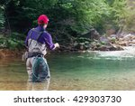 fisherman catches a fish in the ... | Shutterstock . vector #429303730