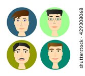 avatars set  men's head  flat... | Shutterstock .eps vector #429308068