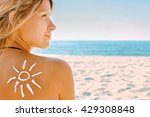 of sun cream on the female back ... | Shutterstock . vector #429308848