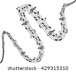 music notes twisted into a...