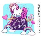 magic unicorn with confetti and ... | Shutterstock .eps vector #429337246